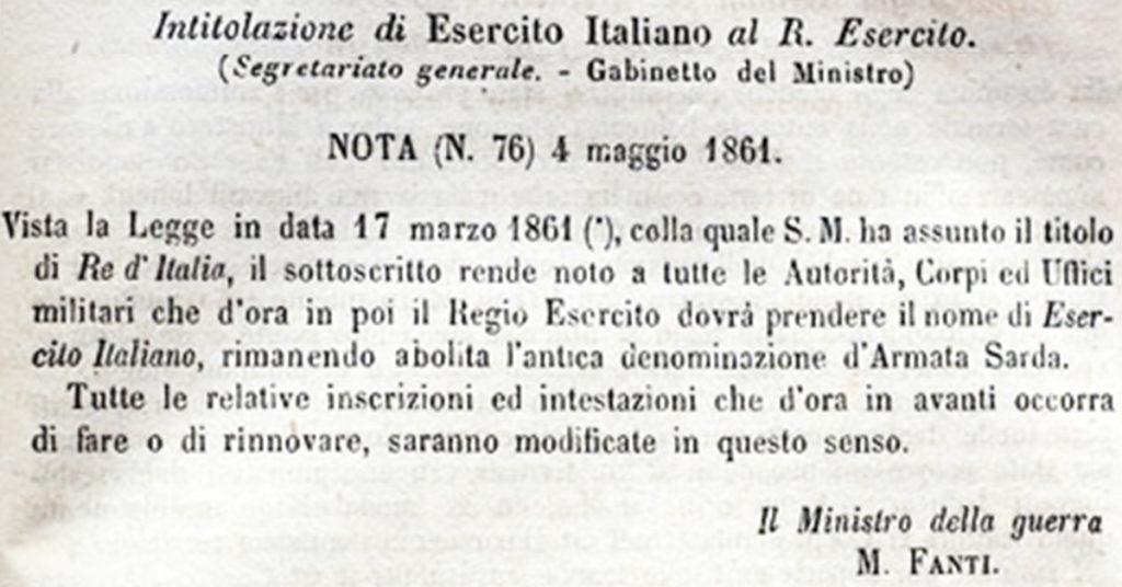 Nascita Esercito Italiano